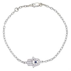 Unique good luck 14k White gold diamonds and Blue Sapphire HAMSA-HAND OF GOD bracelet