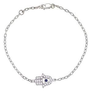 Unique 14k White gold White diamonds and Blue sapphire HAMSA bracelet