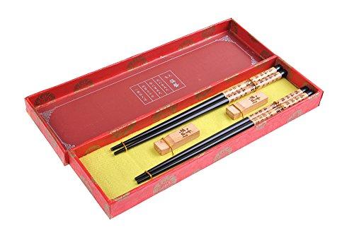 Abacus Asiatica: Elégant lot de baguettes chinoises dans une boite de décoration , avec des baguettes en bois sculptées et repose-baguettes style