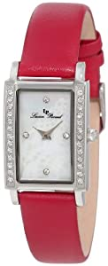 Lucien Piccard Women's 11673-02MOP-RD Monte Baldo Crystal Accented White Patterned Mother-Of-Pearl Dial Red Leather Watch