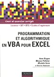 Programmation et algorithmique en VBA pour Excel : Cours et exercices corrigés