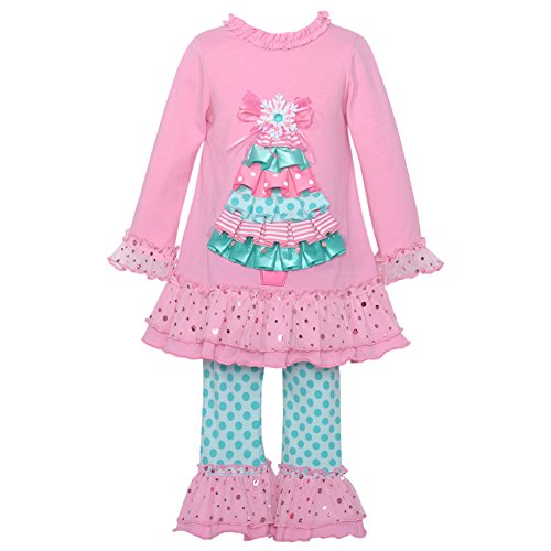 Rare Editions Little Girls Pink Christmas Tree Applique 2 Pc Legging Set 2T-6X