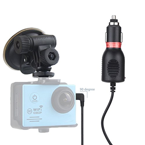 TEKCAM 2in1 Car Charger Mount Suction Cup Bracket for Waterproof Action Sport Camera