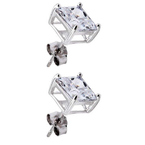 Pure .925 Sterling Silver Princess Cut Stud Earrings 3 Carats Total Weight 1.5 Carat Each Stone Comes in a Gift Box & Special Pouch
