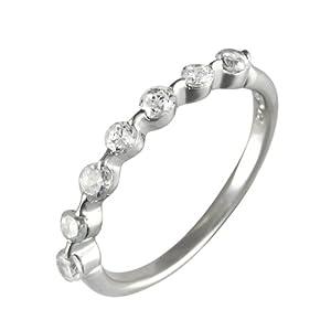 Ivy Gems Sterling Silver Half Eternity Ring - Size O
