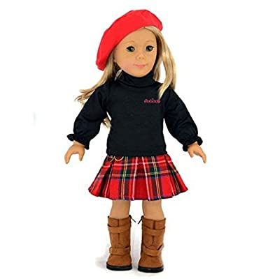 Ebuddy 3pc Skirt School Outfit Clothes Fits 18 Inch Girl Doll by Ebuddy