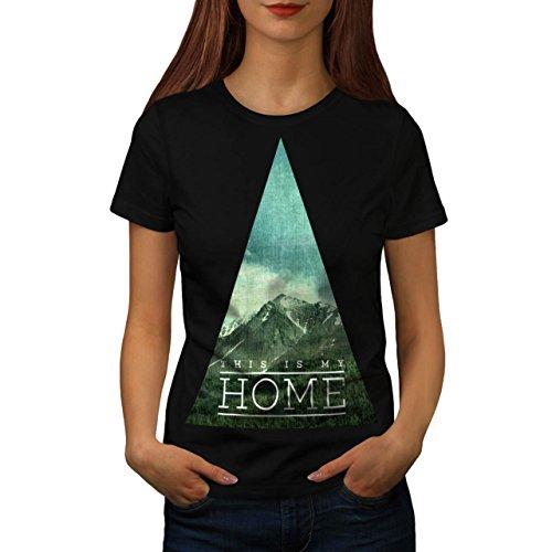 Mio selvaggio Natura Casa Montagna Da donna Nuovo Nero M T-Shirt | Wellcoda