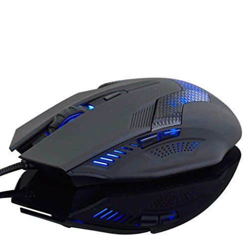 Merdia Usb Wired Gaming Mouse With 3 Level Dpi Switch Blue Led 6 Button - Green Hornet(Black)