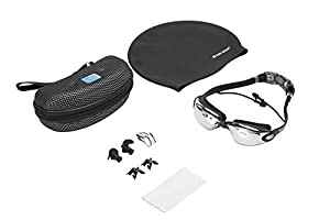 San Sport Swimming Goggles with 100% UV Protection Anti Fog Adjustable Straps for Men and Women + Protective Goggle Case, Silicone Swim Cap, Silicone Ear Plugs and Nose Clip (Black)
