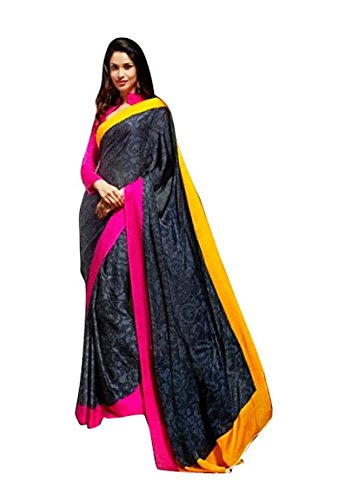 Aasri Women Faux Georgette Designer Black Wedding Saree with Blouse Piece