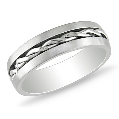 Stainless Steel Band with Braided Center Line Design Ring
