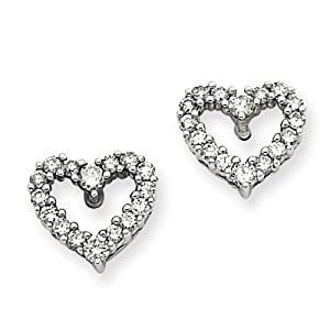 14k Gold White Gold Diamond Heart Earrings Real Goldia Designer Perfect Jewelry Gift