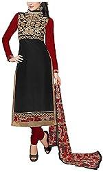 Fashions World Women's Cotton Dress Material (Black)
