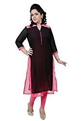 Kittus Fashion House Women's Georgette Straight Kurti (Kskrt-1063B_Black_Large)