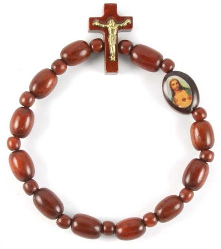 Cherry Wood One Decade Rosary Bracelet with Image Sacred Heart of Jesus. Made in Brazil.