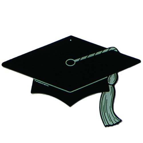Black Graduation Cap Silhouette Cutout - 1