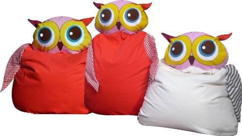 greenluup® hochwertiger Sitzsack für Kinder aus 100% Bio Baumwolle Luna Eule in Weiß – passende Wandtattoos sind erhältlich