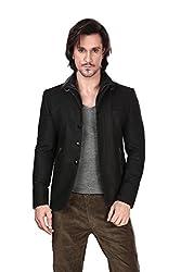 DheerajSharma Black Double Collar Zipper Jacket-XL