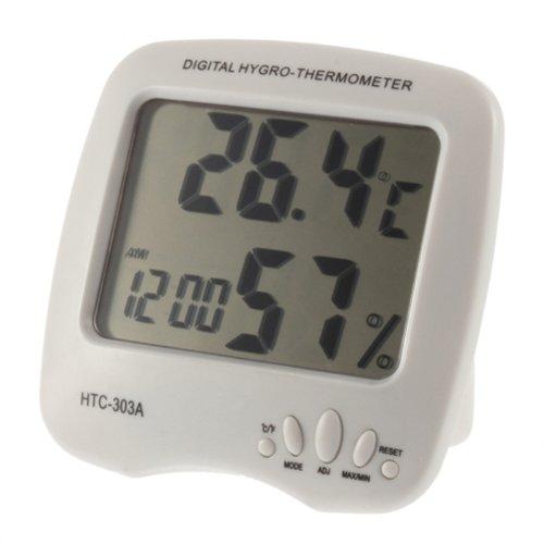 Générique Grand écran LCD numérique Hygro température et d'humidité de thermomètre de mètre HTC- 303A Couleur Blanc