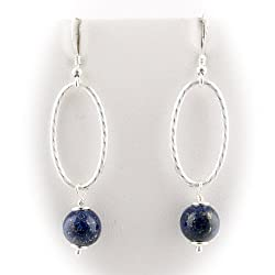 Sterling Silver Blue Lapis Large Oval Link Chain Earrings