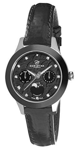 Christina Design London Diamond Night Moonphase women's quartz Watch with black Dial analogue Display and black leather Strap C307SBLBL