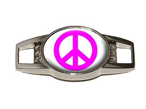 Peace Sign Pink - Shoe Sneaker Shoelace Charm Decoration front-48836