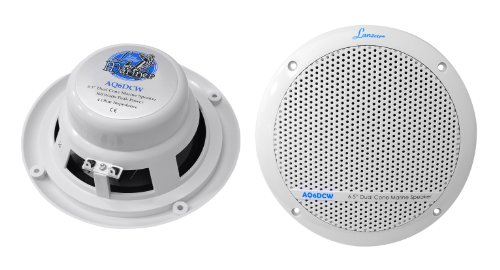 Lanzar Aq6Dcw 360 Watts 6.5-Inch Dual Cone Marine Speakers, White Color - Set Of 2