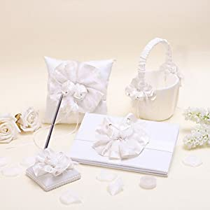 Elegant Beads Flower Collection Sets(Set Of Four , Guest Book ,Ring
