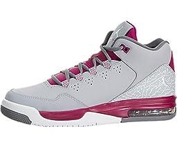 Nike Kids Jordan Flight Origin 2 GG Wlf Gry/White/Sprt Fchs/Cl Gry Basketball Shoe 5 Kids US