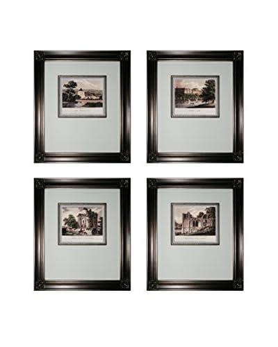 Set of 4 Mini Estates Framed Artworks, Black/White/Silver