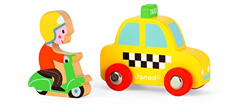 Janod Story Set City Yellow Taxi Cab and Scooter - 1