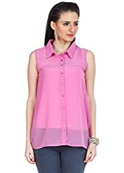 Zovi Polyester Pink Sleeveless Top With Back Lace Work (10200119001_Small)