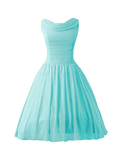 Daisyformals Knee Length Chiffon Bridesmaid Dress(Bm140418)- Tiffany Blue