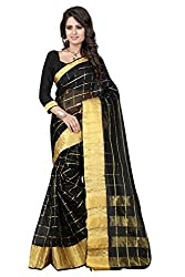 Fabcart Black Color Art Silk Saree with Blouse Piece