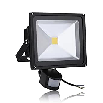 30w led projecteur ext rieur projecteur lumi re avec d tecteur de mouvement ip65 blanc chaud. Black Bedroom Furniture Sets. Home Design Ideas