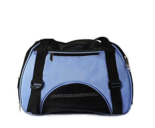 Soft Sided Pet Carrier for Dogs Cats Puppies 17″L x 8″W x 10″H Airline Approved Travel Tote Bag Portable Handbag Shoulder Bag for Pets-Blue