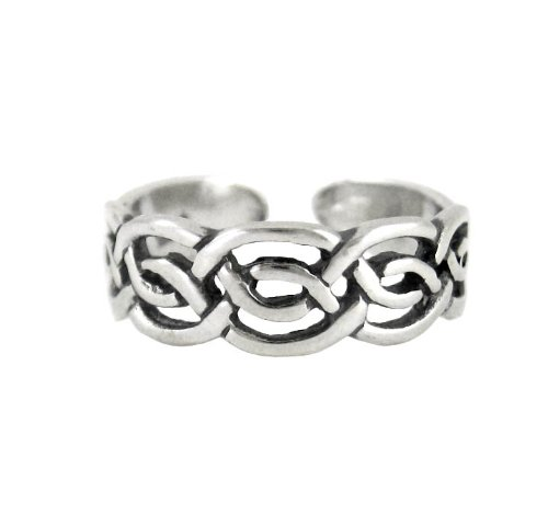 Sterling Silver Celtic Knot Open Band Adjustable Toe Ring front-1041091