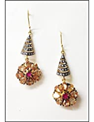 E-designs Rhodium / Gold Plated Earring With CZ Stone Alongwith Colour Stones Studded For Women - B00HSI68WQ