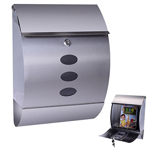 MasterPanel - Stainless Steel Wall Mount Mail Box w/ Retrieval Door & Newspaper Roll & 2 Keys #TP3293 (Omega Days 2 Ship Of The Dead compare prices)