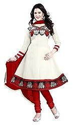 Kimisha White Cotton Embroidered Anarkali Dress Material