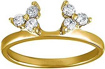 10k Gold Three Stone Ring Wrap Enhancer with White Sapphire 024 ct twt