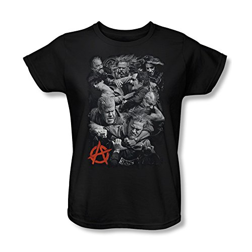 Sons Of Anarchy Tv Series Group Black & White Group Fight Logo Women'S T-Shirt