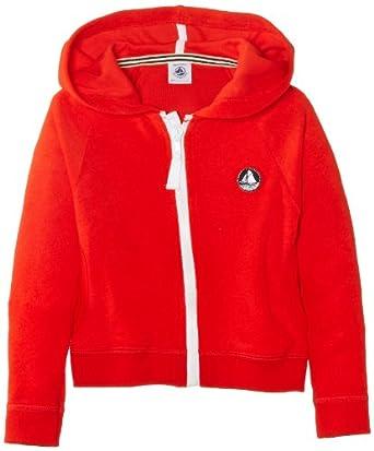 Petit Bateau - Sweat-shirt à capuche - Uni - Fille - Rouge (Brulant) - FR: 12 ans (Taille fabricant: 12 ans)