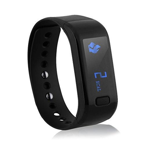 Excelvan OLED Bluetooth4.0 スマートブレスレット IP67防水 着信通知 歩数計 カロリー 睡眠検測 リモートシャッター 日本語対応 ブラック