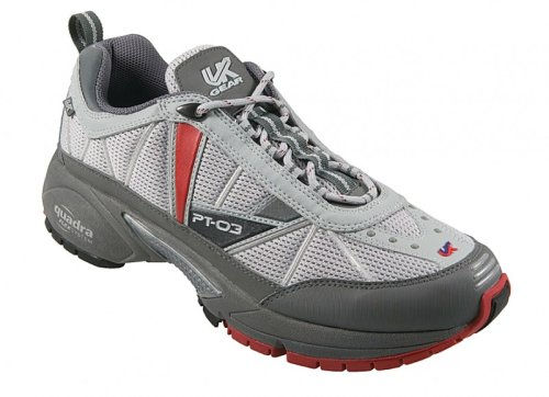 UK Gear PT-03 SC Mens Road Running Shoe - Grey-Red-Black - UK size: 12, US size: 12.5 , EU size: 47.3