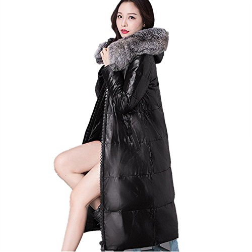 AiSiC Women 2016 winter New Faux fur Hooded PU Leather Down Coat