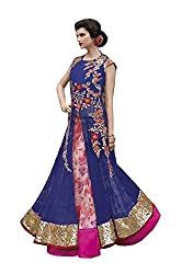 Trendy Blue and Pink Embroidered and Stone Lhenga