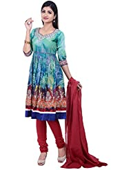 Rene Women's Green Printed Three Quarter Sleeves With Round Neck Cotton Anarkali