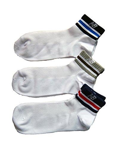 (NEW BALANCE) ニューバランス メンズ  デザインスニーカーラインソックス クルー丈紳士靴下 25cm~27cm ホワイト系3足組