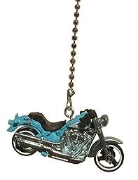 Blue Harley Davidson Fat Boy Motorcycle Ceiling Fan Pull